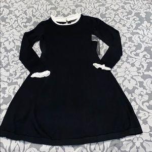 TAHARI Black Knit Dress with White Ruffle ✨New✨